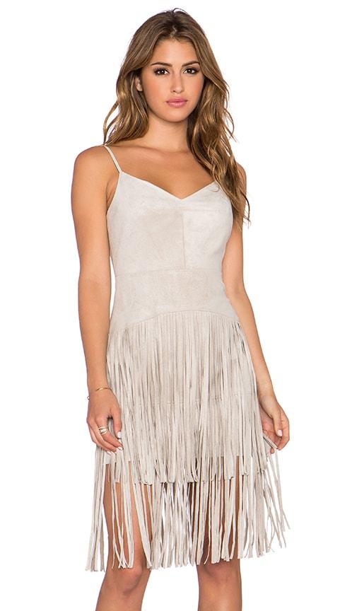 BCBGMAXAZRIA Fringe Dress in Beige