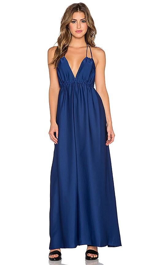 BCBGMAXAZRIA Kamala Halter Maxi Dress in Blue Depth