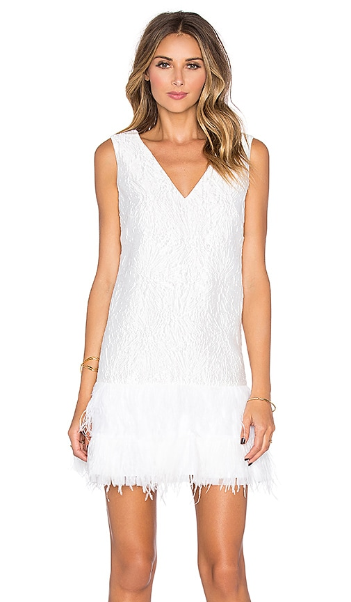BCBGMAXAZRIA Plunge Neck Mini Dress in White
