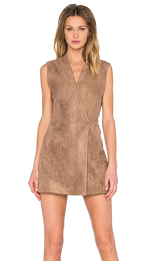 BCBGMAXAZRIA Caryn Faux Suede Dress in Light Mocha
