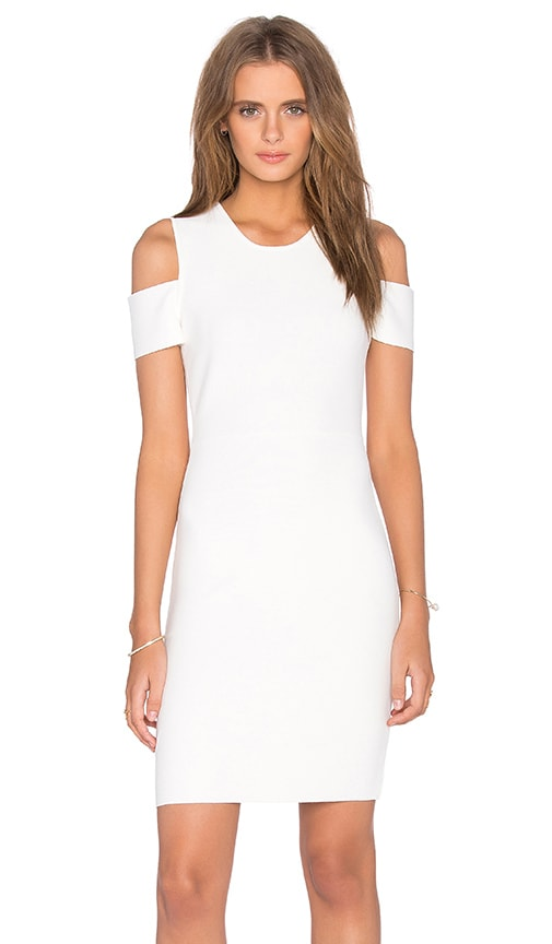 BCBGMAXAZRIA Monicka Open Shoulder Dress in White