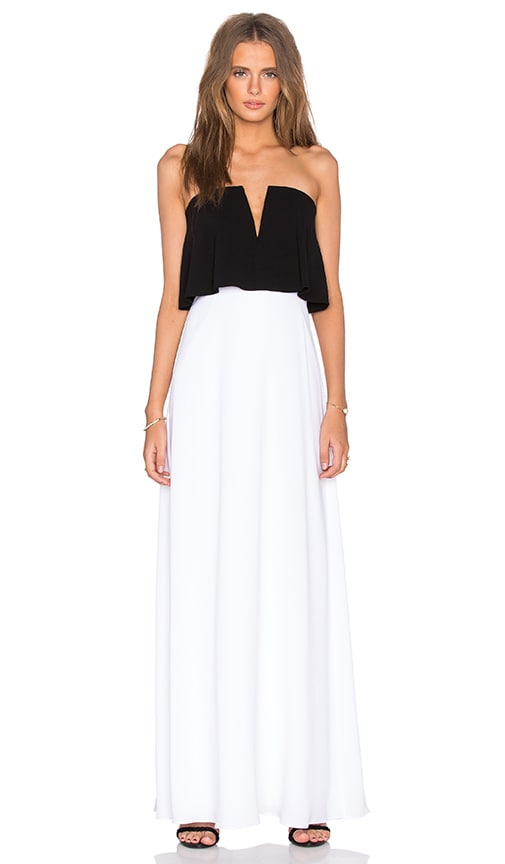 BCBGMAXAZRIA Alyse Strapless Maxi Dress in Black & White