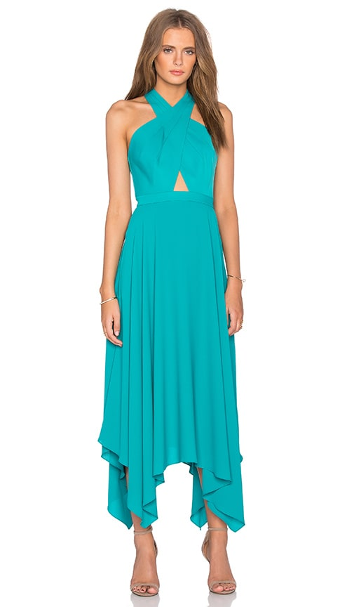 BCBGMAXAZRIA Annmarie Cross Front Maxi Dress in Bright Emerald | REVOLVE