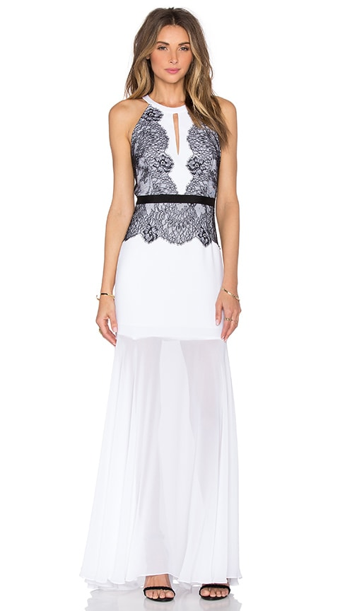BCBGMAXAZRIA Gerogianna Lace Maxi Dress in White Combo