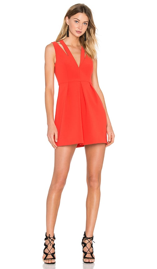 BCBGMAXAZRIA Clarye Deep V Dress in Red