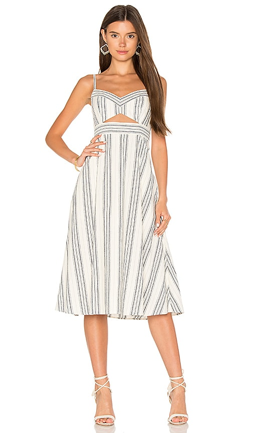BCBGMAXAZRIA Cut Out Midi Dress in Cream