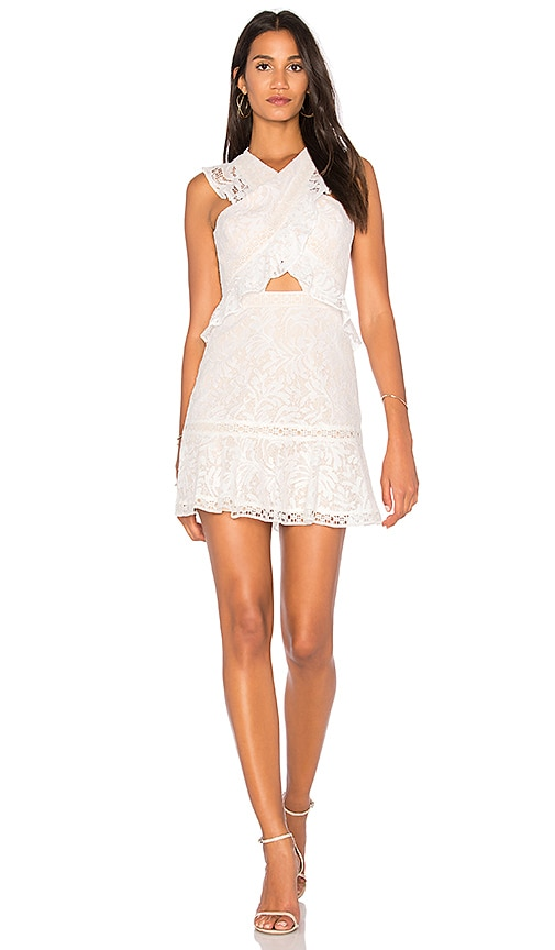 BCBGMAXAZRIA Cross Front Dress in White