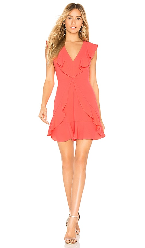BCBGMAXAZRIA Eleeza Ruffle Dress in Coral