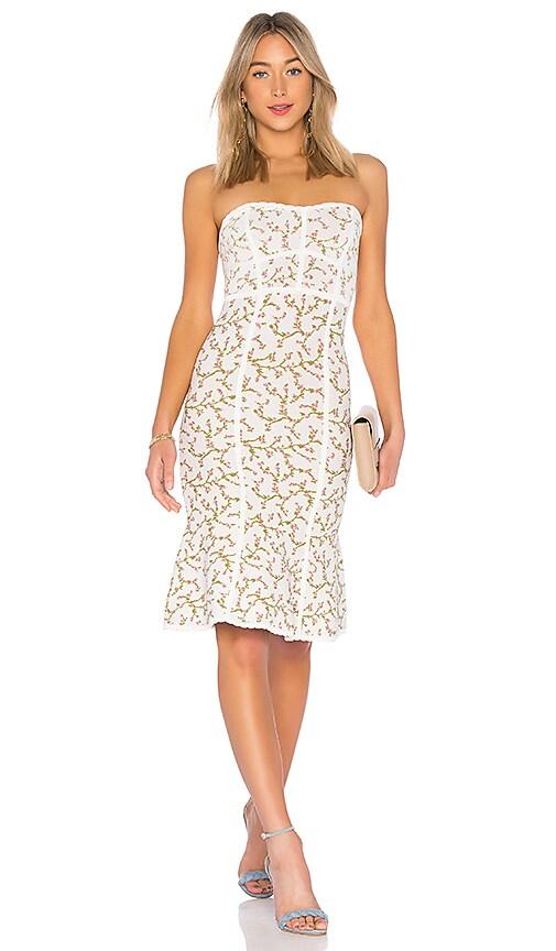 BCBGMAXAZRIA Lynne Jacquard Strapless Dress in White