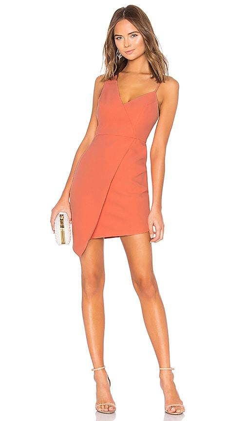 BCBGMAXAZRIA Micaila Asymmetrical Dress in Coral