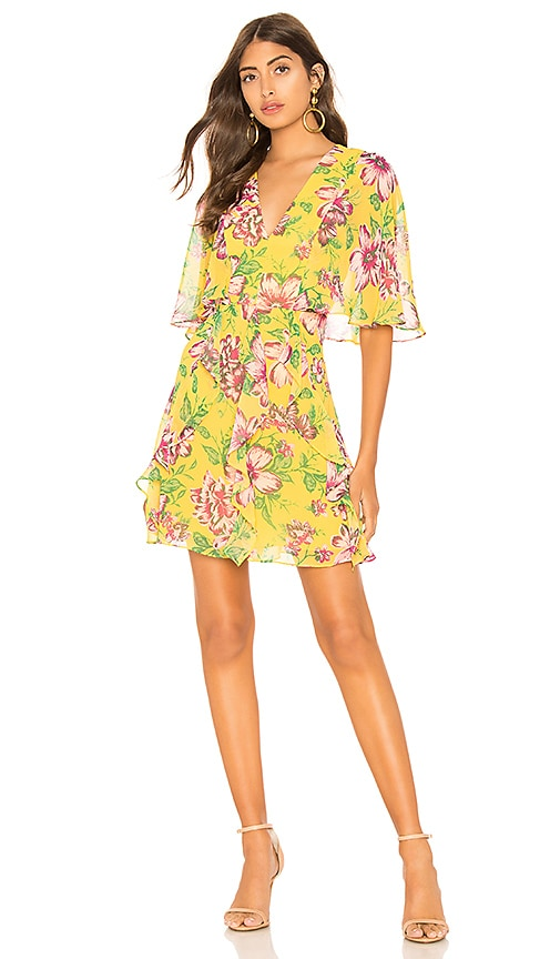 BCBGMAXAZRIA Mabel Floral Dress in Yellow