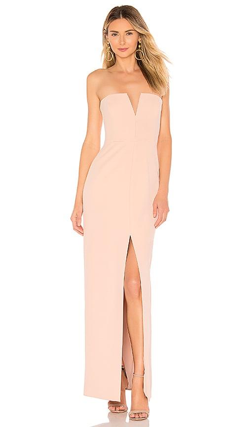 Strapless High Slit Gown