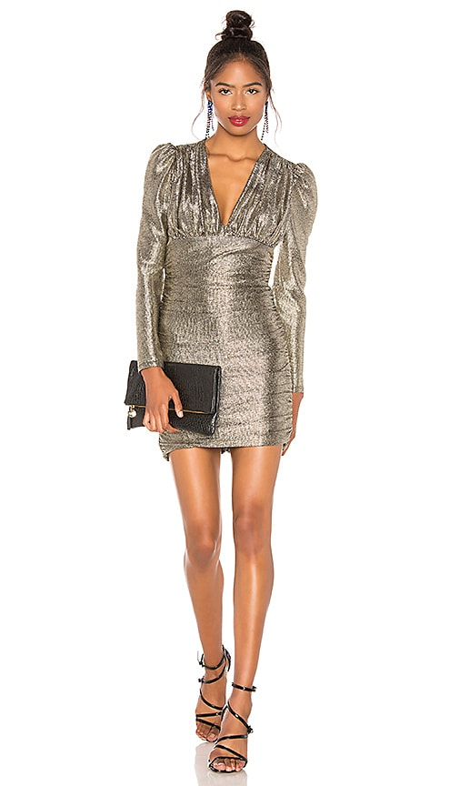Metallic Shirred Dress