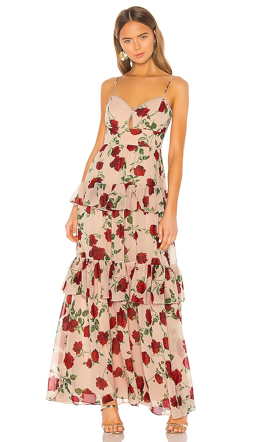 BCBGMAXAZRIA Tiered Rose Print Gown in Bare Pink Medium | REVOLVE