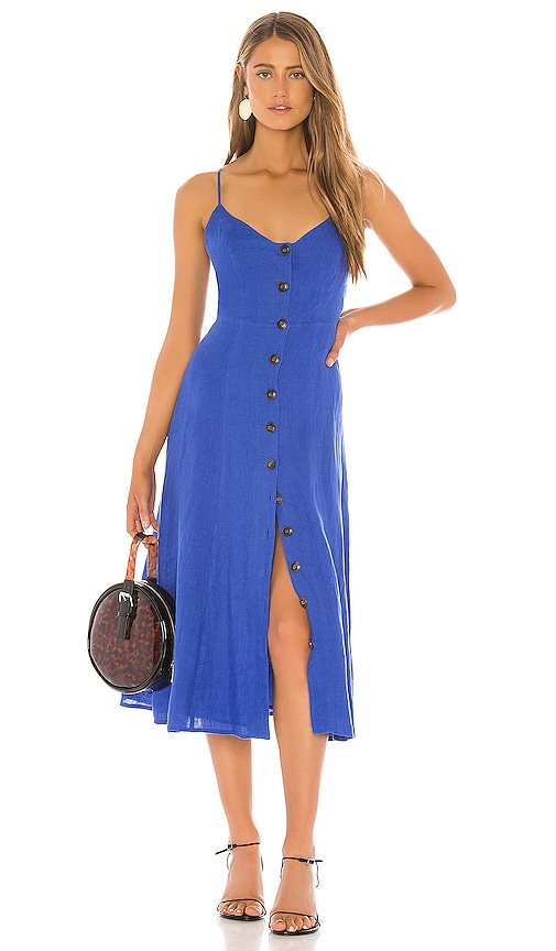 Bcbgmaxazria Button Down Midi Dress In Blueberry Revolve Get dressed up with our chicest assortment of covetable minis, midis & maxis. revolve