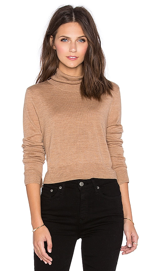 BCBGMAXAZRIA Crop Turtleneck Sweater in Camel