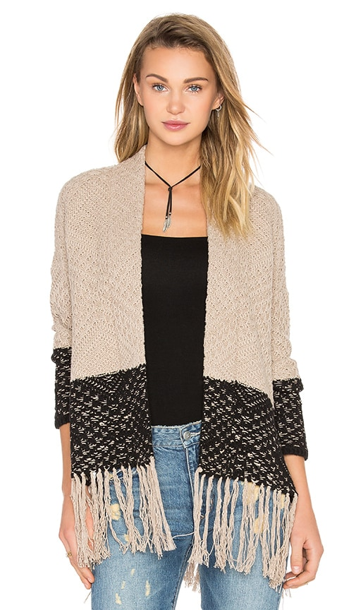 BCBGMAXAZRIA Eliana Fringe Cardigan in Brown
