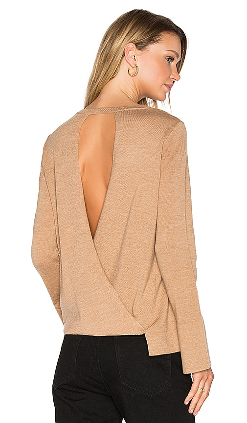 BCBGMAXAZRIA Open Back Sweater in Tan