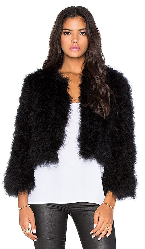 BCBGMAXAZRIA Margaret Maribou Feathered Jacket in Black