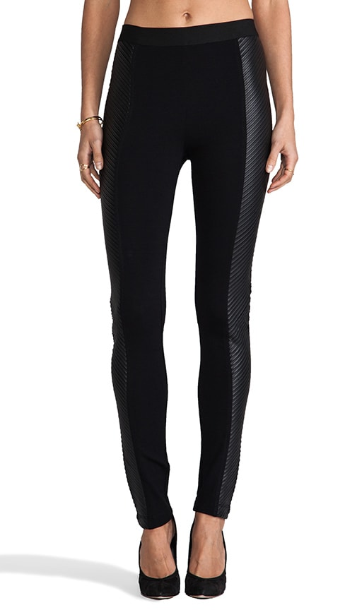 Vegan Leather Side Panel Leggings