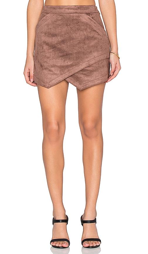 BCBGMAXAZRIA Faux Suede Skirt in Toffee