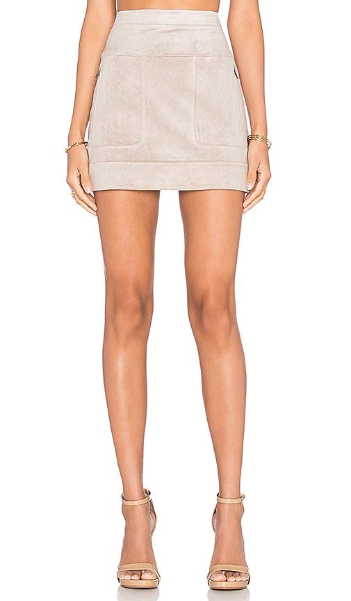 BCBGMAXAZRIA Faux Suede Mini Skirt in Hazelnut