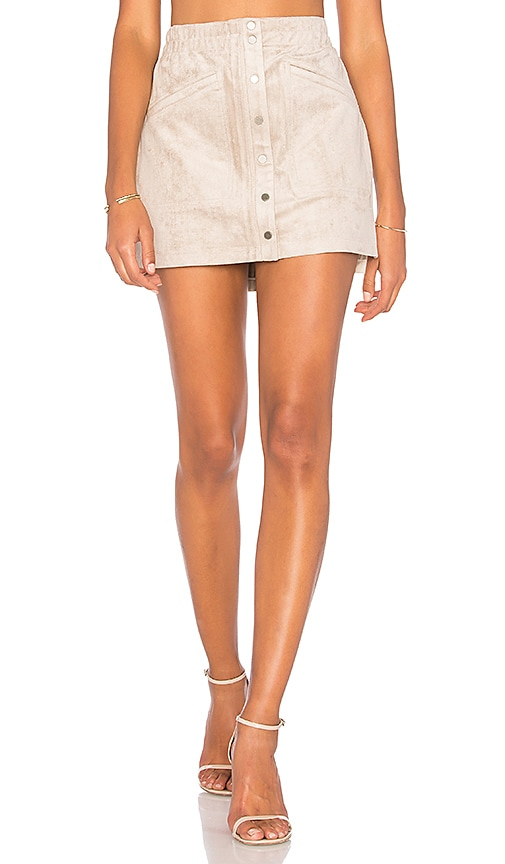 BCBGMAXAZRIA Suede Mini Skirt in Beige