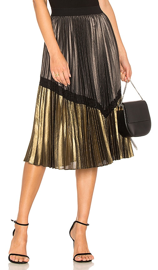 BCBGMAXAZRIA Toni Pleated Skirt in Metallic Gold