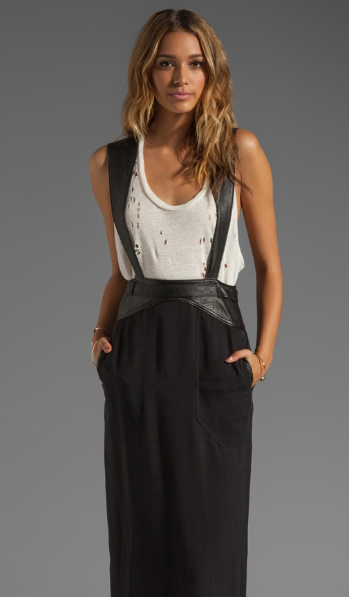 Runway Leather Detail Maxi Skirt