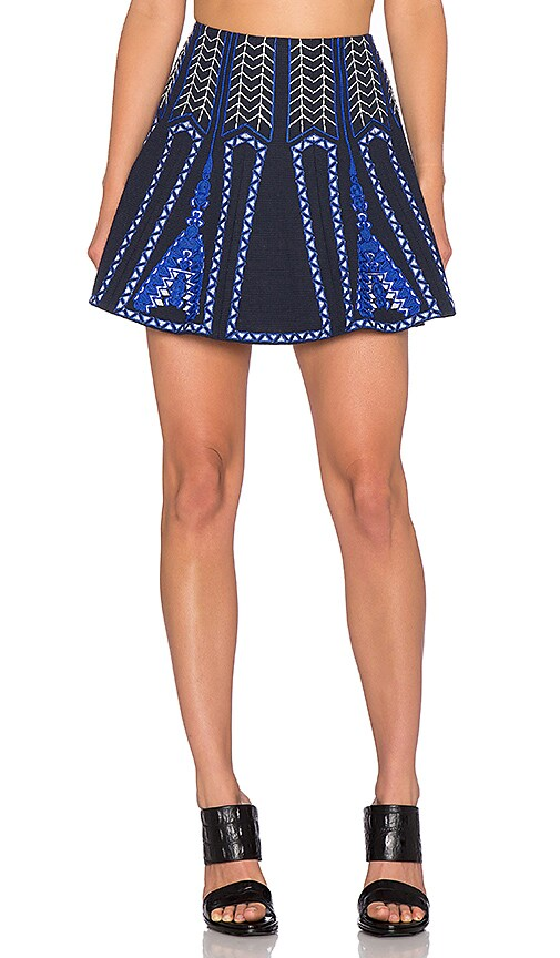 BCBGMAXAZRIA Bronwyn Embroidered Mini Skirt in Ink Combo