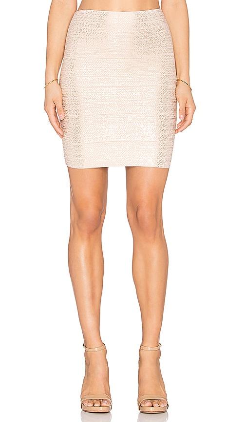 BCBGMAXAZRIA Josie Foil Mini Skirt in Bare Pink Gold