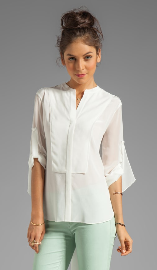 Elbow Sleeve Button Down Top