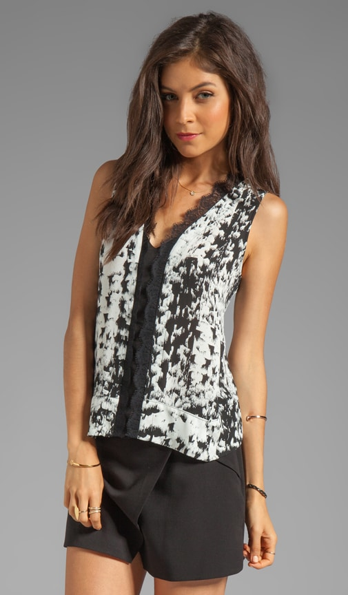 Printed V Neck Sleeveless Top