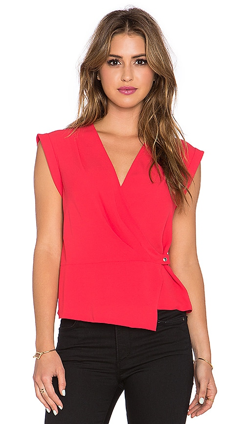 BCBGMAXAZRIA Drape Front Top in Red Berry
