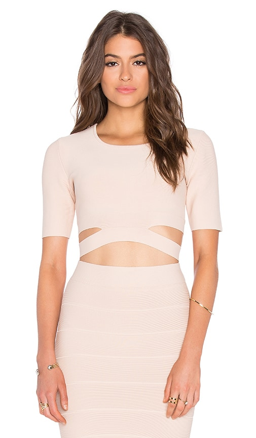 BCBGMAXAZRIA Clarissa Cutout Crop Top in Bare Pink
