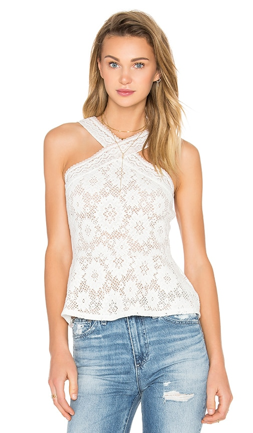 BCBGMAXAZRIA Annica Peplum Top in White