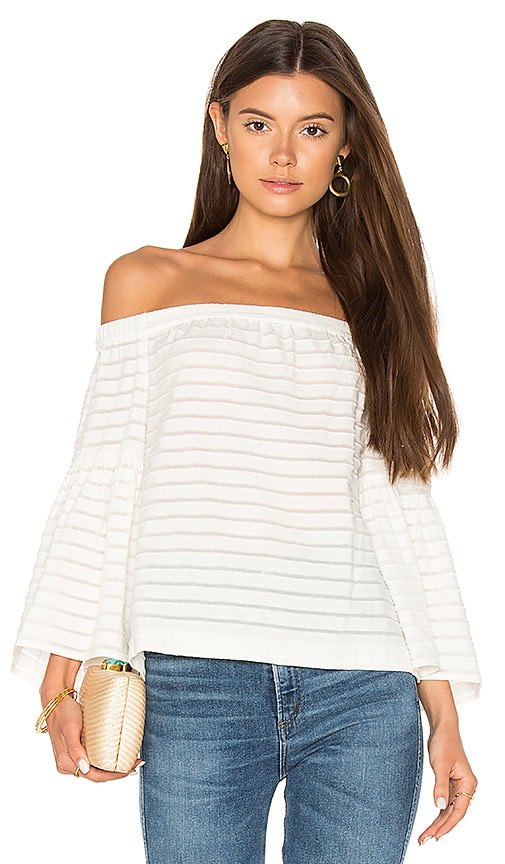 BCBGMAXAZRIA Bell Sleeve Top in White