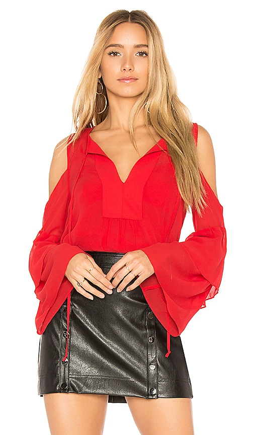 BCBGMAXAZRIA Jalena Flutter Sleeve Top in Red