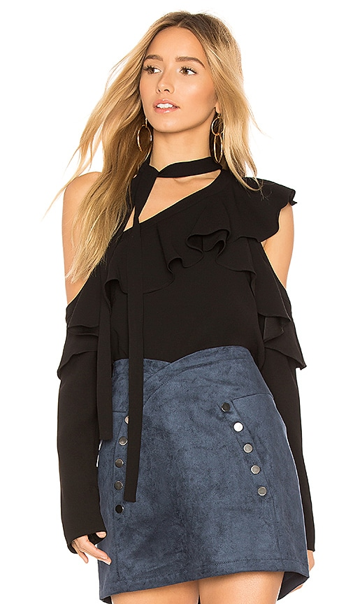 BCBGMAXAZRIA Veronika Ruffle Top in Black