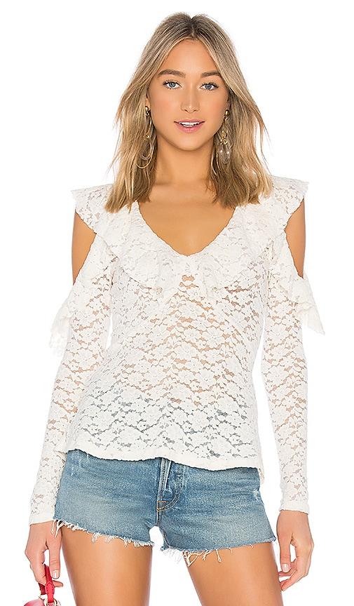 BCBGMAXAZRIA Lace Ruffle Blouse in White