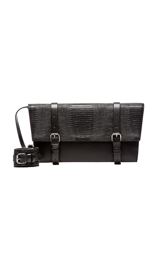 Lizard Embossed Buckle Strap Clutch w/ Leather Cuff