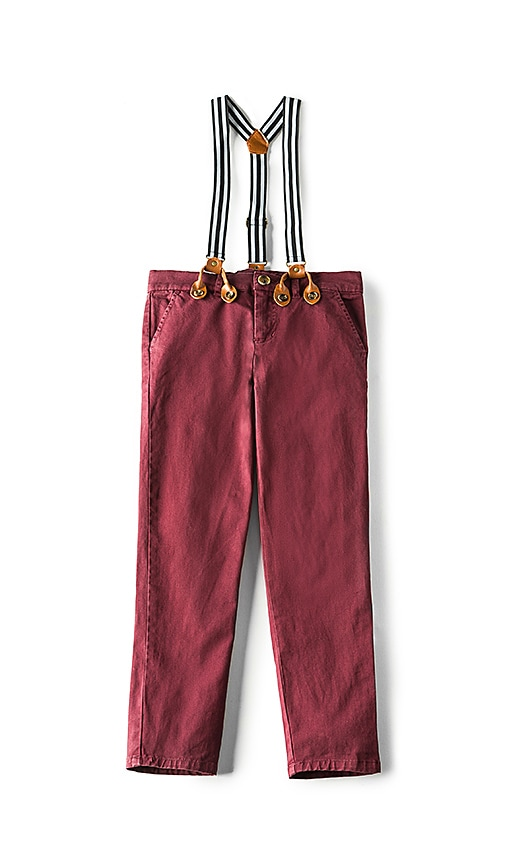 Bardot Junior Skinny Braces Chino in Burgundy