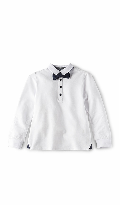 Bardot Junior Bow Tie Polo Top in White