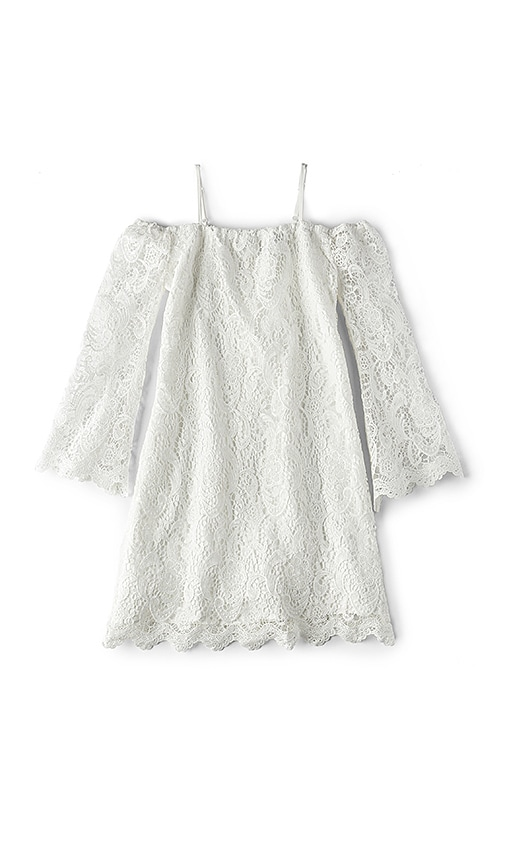 Bardot Junior Lace Bell Sleeve Dress in White