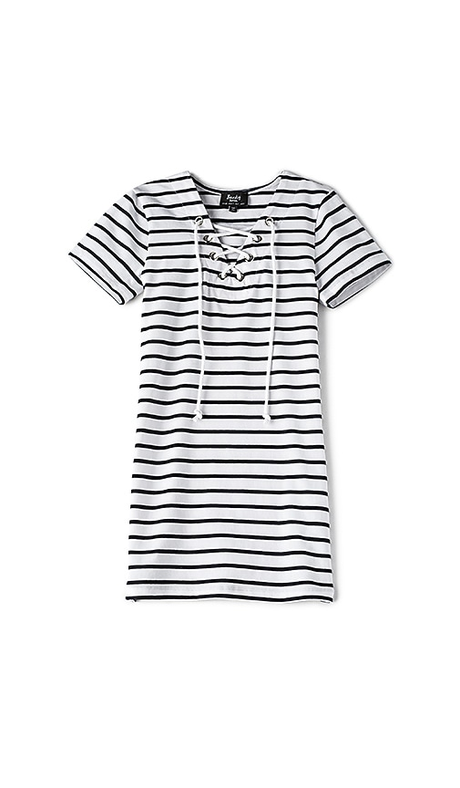 Bardot Junior Lace Up Tee Dress in Black & White
