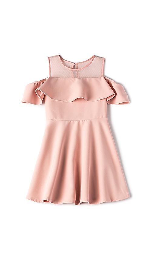 Bardot Junior Cold Shoulder Ruffle Dress in Pink