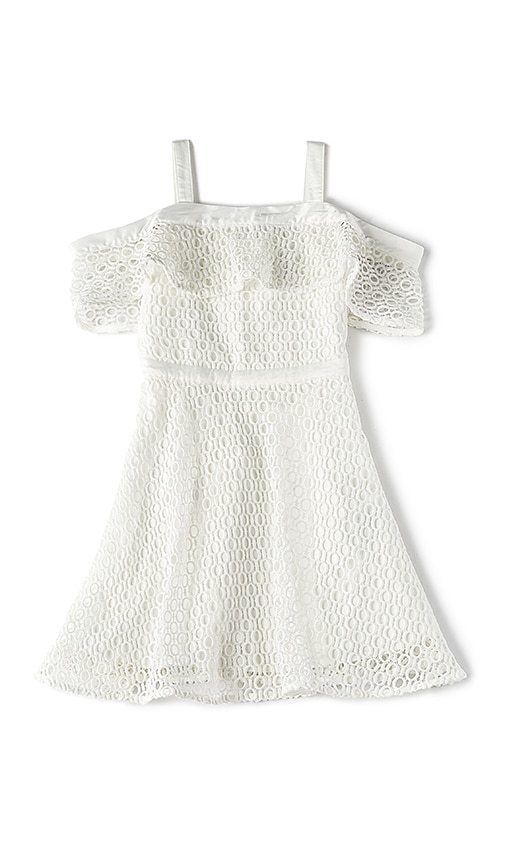 Bardot Junior Mesh Cold Shoulder Dress in White