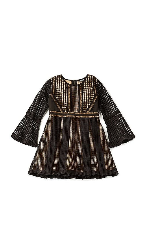 Bardot Junior Paneled Grid Dress in Black