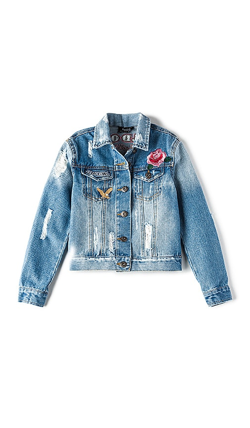 Bardot Junior Rock On Trash Denim Jacket in Blue