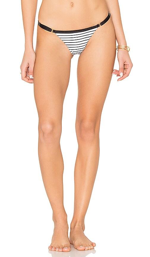 Beach Bunny Renegade Full Shirred Tango Bikini Bottom in Black & White